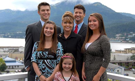 The Alaskan governor, Sarah Palin (centre), and family. Clockwise from back