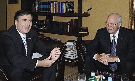 Dick Cheney meets Georgian president Mikheil Saakashvili in Tbilisi.