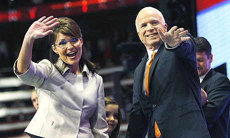 John McCain joins running mate Sarah Palin on stage at the Republican National Convention in St Paul, Minnesota.