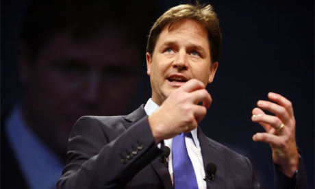 Nick Clegg speaking at Lib Dem conference 2008