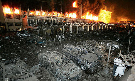 A view of the destruction caused by a bomb explosion at the Marriott hotel in Islamabad.