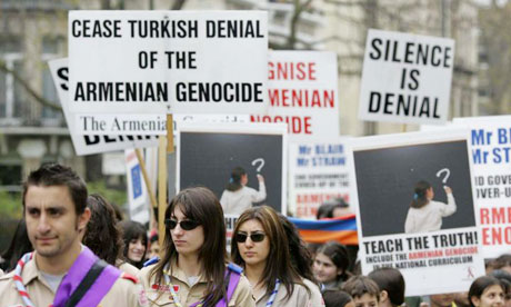 Members of the Armenian community join a demonstration march in London