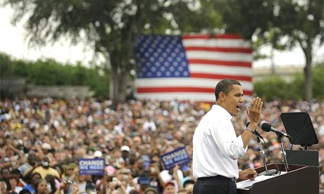 The Democratic presidential nominee, Barack Obama, addresses a rally in Metropolitan park, Jacksonville, Florida