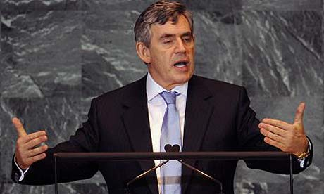 Gordon Brown addresses the United Nations general assembly in New York
