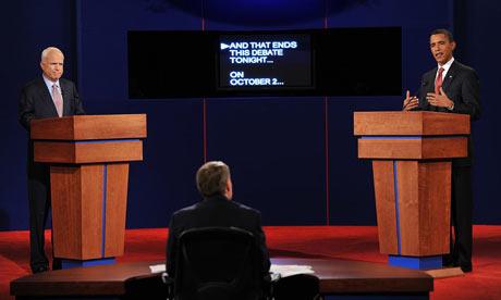 John McCain and Barack Obama in their first debate