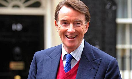 Peter Mandelson outside Downing Street following the shock announcement of his return to the government