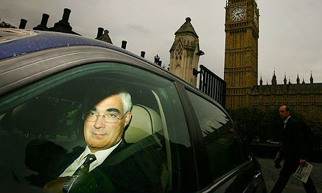 Chancellor of the Exchequer Alistair Darling leaving the House of Commons
