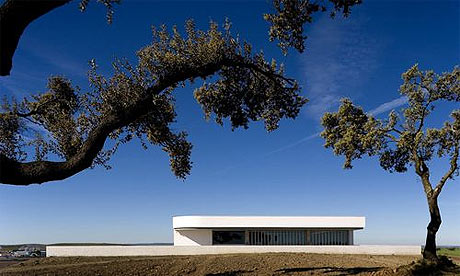 The Adega Mayor Winery in Campo Maior, Portugal, designed by Portuguese architect Alvaro Siza