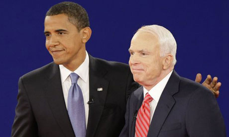 Barack Obama and John McCain shake hands at the end of the second presidential debate. Photograph: J Scott Applewhite/AP