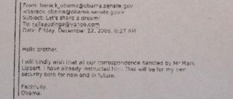 Obviously fake Obama email