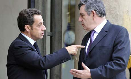 Nicolas Sarkozy (left) and Gordon Brown (Photo: Guardian)