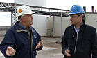 Ed Pilkington with ethanol plant worker in Craig, Missouri