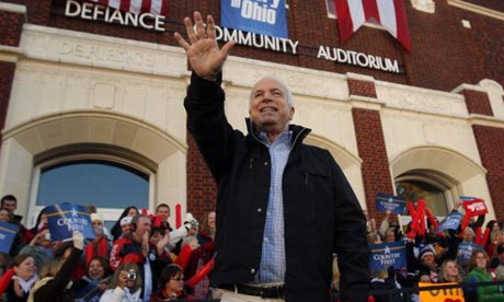 John McCain campaigns in Defiance, Ohio. Photograph: Brian Snyder/Reuters