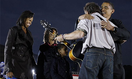 Barack Obama and family with Bruce Springsteen