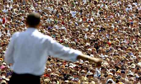 Some noted a disturbing thirst for leader-worship that drove followers of Barack Obama. Photograph: Greg Wahl-Stephens/AP