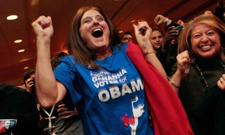 Supporters of Democratic presidential nominee U.S. Sen. Barack Obama (D-IL) celebrate as they hear their state Ohio has been called for their candidate