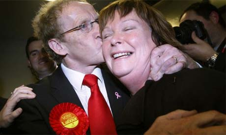 Labour's candidate Lindsay Roy and his wife celebrate winning the Glenrothes By-election
