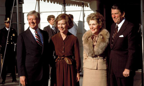 Jimmy and Rosalynn Carter and Nancy and Ronald Reagan
