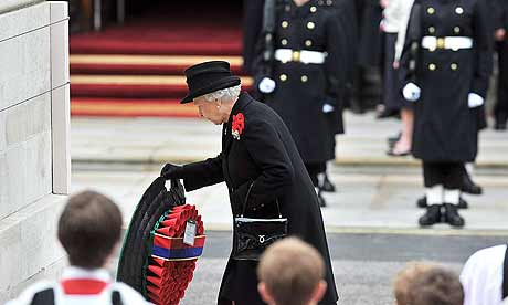 The Queen lays a wreath at the Cenotaph to honour Britain's war dead on Remembrance Sunday