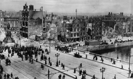 Devastation on Sackville Street, Dublin, where it crosses the River Liffey, due to the Easter Rising of 1916