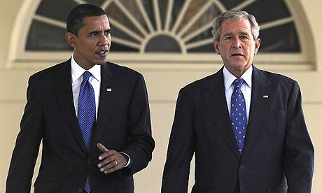 Barack Obama and George Bush at the White House