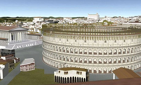 A virtual version of the Colosseum in ancient Rome is shown in part of