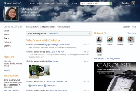 Windows Live profile page