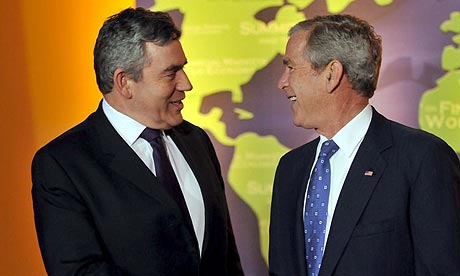 Gordon Brown and George Bush at the G20 summit in Washington DC