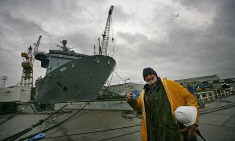 A worker at Cammell Laird in Liverpool