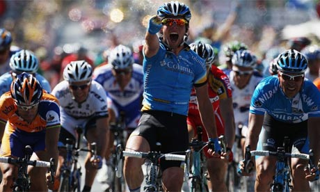 Mark Cavendish of Great Britain celebrates as he wins stage five of the Tour de France 2008