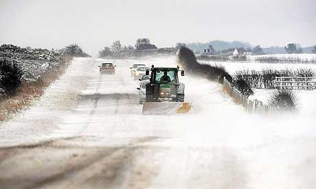 Snow drifts across a road near Whitby