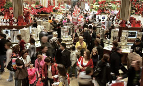 Thanksgiving weekend shoppers in Macy's, New York City