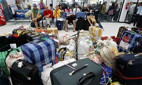 Travellers pack the U-Tapao airbase in Thailand