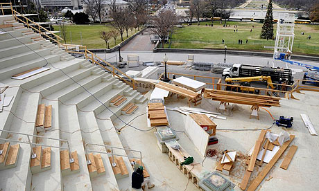 Workers constructing the platform for Barack Obama's inauguration in Washington