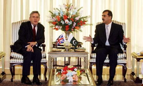 The British prime minister, Gordon Brown, meets his Pakistani counterpart, Syed Gilani