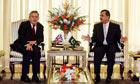 The British prime minister, Gordon Brown, meets his Pakistani counterpart, Syed Gilani