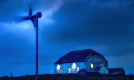 Church powered by wind turbine