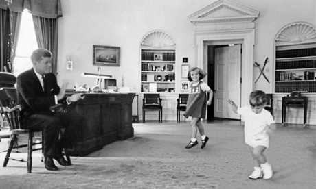 Caroline Kennedy and John F Kennedy Jr play in the White House