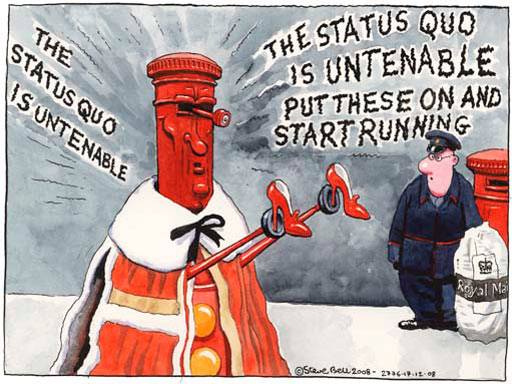17.12.08: Steve Bell on plans to part-privatise the Royal Mail