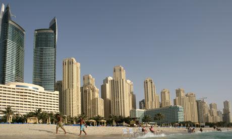 A beach in Dubai with artificial elements