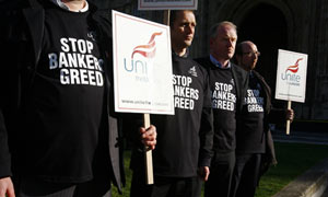 Financial sector workers protest in Westminster