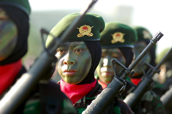 Gallery 22 December 2008: Banda Aceh, Indonesia: Members of the Indonesia Womens Army