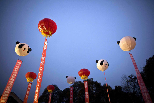 Balloons decorate the sky during a ceremony in Yaan marking the delivery of two panda bears
