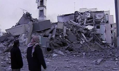 Bomb damage to the Islamic University in Gaza caused by Israeli air strikes