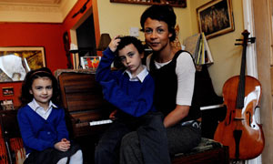 Sian Martin and her children Noah and Coca who attend a Jewish faith school