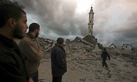 Destroyed mosque following Israeli airstrikes in Gaza