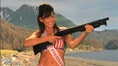 Sarah Palin lookalike with gun from Funny or Die