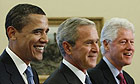 George Bush Sr, Barack Obama, George Bush, Bill Clinton and Jimmy Carter