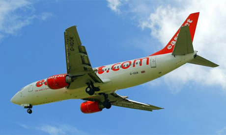 An EasyJet flight landing at Nottingham East Midlands Airport