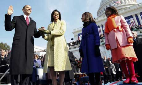 Barack, Michelle, Sasha and Malia Obama on the steps of the US Capitol in Washington. Photograph: Reuters